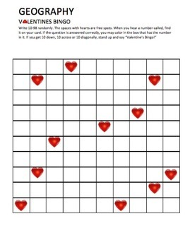 Geography: Valentine's Bingo Geography Review Trivia Game
