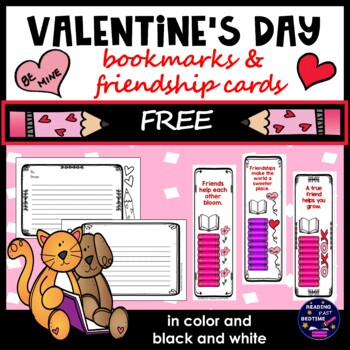 Free Valentine's Day Card Bookmarks, Book Report, and Character Cards