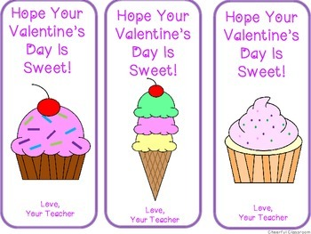 Valentine's Bookmarks (Sweets Ice Cream and Cupcakes)