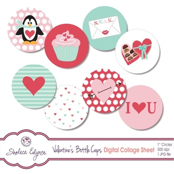 Valentine's Bottle Caps Digital Collage Sheet 1 inch Circles