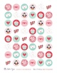 Valentine's Bottle Caps Digital Collage Sheet 1 inch Circles