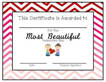 Valentine's Box Award Certificates