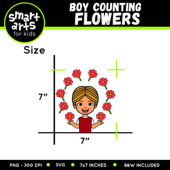 Valentines Boy Counting Flowers Clip Art