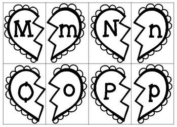 Valentines Broken Heart Letter Matching Cards