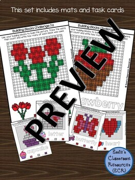 Valentines Building Blocks Activity Mats & Task Cards