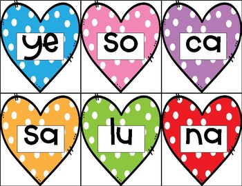 Valentines Building Syllabic Words in Spanish