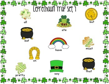 St. Patrick's Day Leprechaun Trap {Kindergarten Printable Sight Word Game}