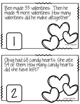 Valentines CGI Math Word Problems 0-100 Task Cards
