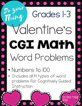 Valentines CGI Math Word Problems 0-100 Task Cards Grades 1-3