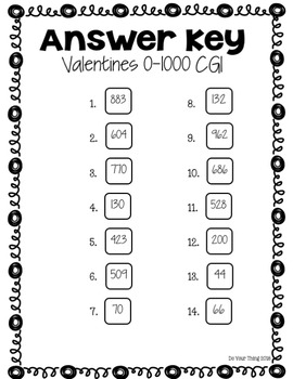 Valentines CGI Math Word Problems 0-1000 Task Cards