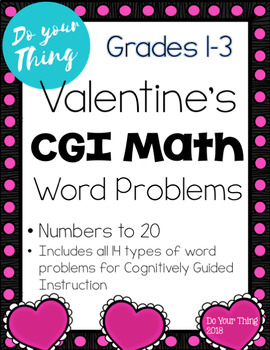 Valentines CGI Math Word Problems 0-20 Task Cards Grades 1-3
