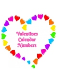 Valentines Calendar Numbers, February Calendar Numbers, Heart and rainbows