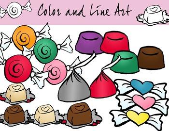 Valentines Candy Clip Art Full 22 Piece Set