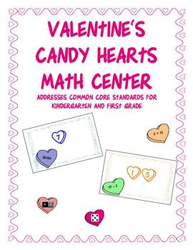 Valentine's Candy Heart Math Center for CCSS K and 1