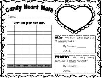 Valentine's Candy Heart Math ---Graphing, Area, Perimeter, Ordering, Fractions