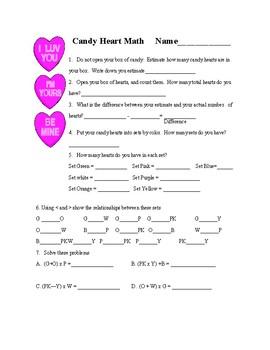 Valentine's Candy Heart Math Worksheet