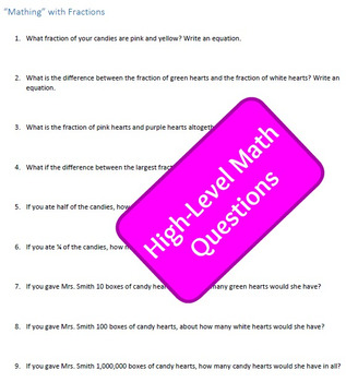 Valentines Candy Hearts Graphing and Fractions Activity for Grades 3-6