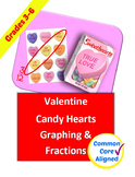 Valentines Candy Hearts Graphing and Fractions Activity fo