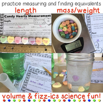 Valentines Candy Hearts Measurement Practice & Science Activity