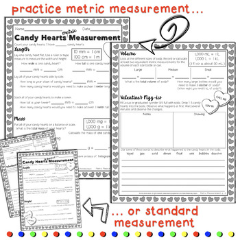 Valentines Candy Hearts Measurement & Science Activity