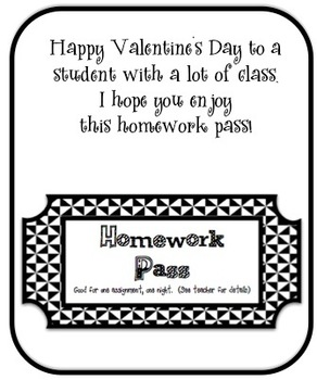 *FREEBIE**  Valentine's Cards for Students from Teachers w/ Homework Pass Gift