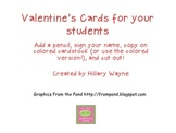 Valentine's Cards from Teacher