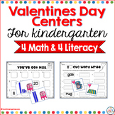 Valentines Math and Literacy Centers for Kindergarten