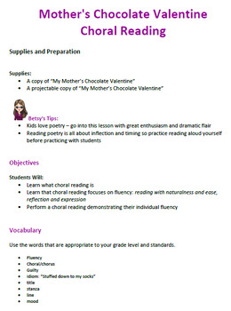 Valentines Choral Reading Literacy Lesson Plan For Grades 1 4 Tpt