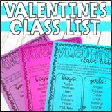 Valentines Day Class List - Editable!