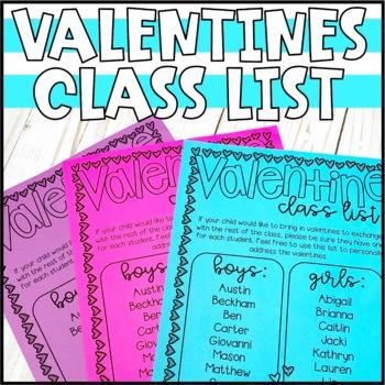 Valentines Class List - Editable!