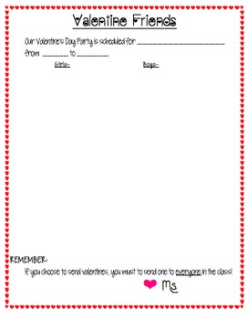 Valentine's Class List Form with Party Time