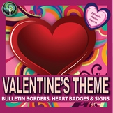 Valentines Day bulletin borders, editable name tags, and signs