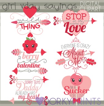 Valentines Clip Art - Girl Valentine Sayings Clipart