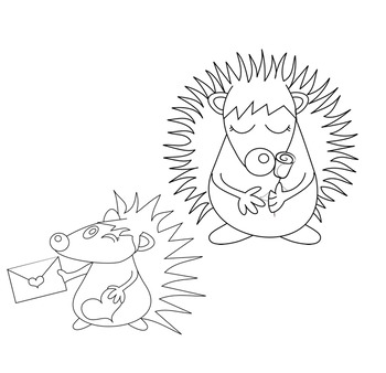 Valentines Clip Art Set: Cute Hedgehogs