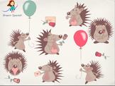 Valentines Clip Art Set: Cute Hedgehogs