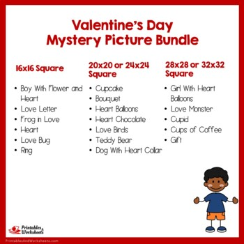 Valentine's Day Coloring Pages, Fun Valentines Mystery Picture Activity