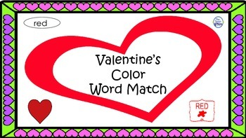 Valentine's Color Word Matching