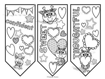 Valentines Color and Create Bookmarks