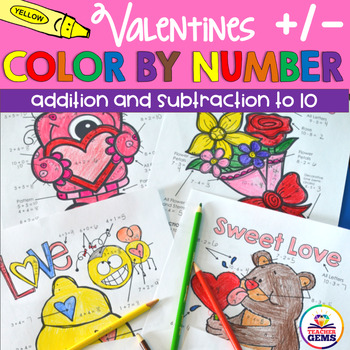 Valentines Color by Number Addition and Subtraction to 10