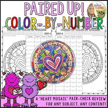 Valentines Color by Number Review Pair Check Activity Heart Mosaic Any Content