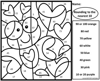 Valentines Color by Number Rounding to Tens Set