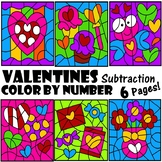 Valentines Color by Number Subtraction Facts Pages