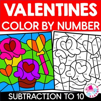 Color by Number Subtraction Valentines Pages