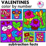 Valentines Color by Number Subtraction Set