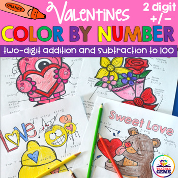 Valentines Color by Number Two Digit Addition and Subtraction to 100