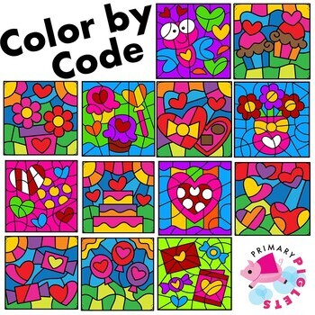 Valentines Day Color by Number and Color by Sight Word Mystery Pictures BUNDLE