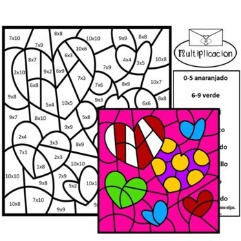 Spanish Valentines Color by Number Math Mystery Pictures BUNDLE