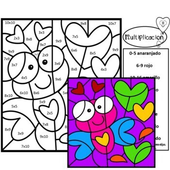 valentine coloring pages spanish | Valentines Color by Number in Spanish Multiplication and ...