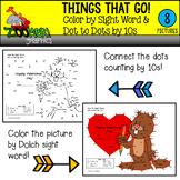 Valentines Color by Sight Word Dot to Dots by 10s