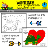 Valentines Color by Sight Word Dot to Dots by 1s